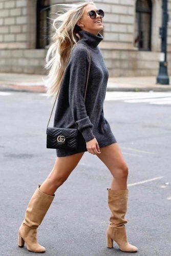 Dark Gray Dress With Camel Boots Outfit #boots #graydress