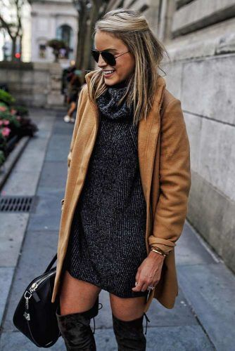 Dark Gray Dress With Camel Coat Outfit #camelcoat