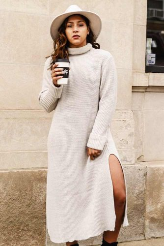 A Long Creamy Sweater Dress Design For Fall #longsweaterdress