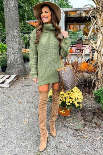 A Gorgeous Turtleneck Knit Sweater #turtlenecksweaterdress #knit