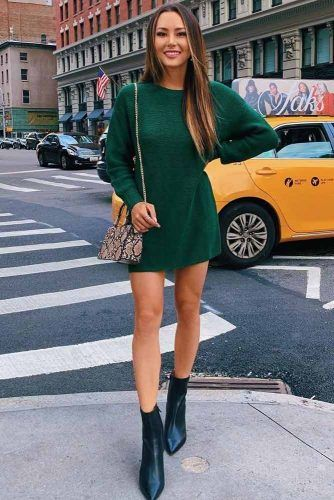 Short Green Dress With Black Boots #shortboots