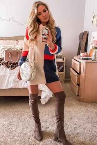 An Oversized Patterned Sweater Dress Idea #oversize #patternedsweaterdress