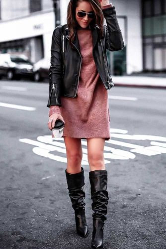 A Sweater Dress With Motor Jacket Outfit Idea #motorjacket #highboots