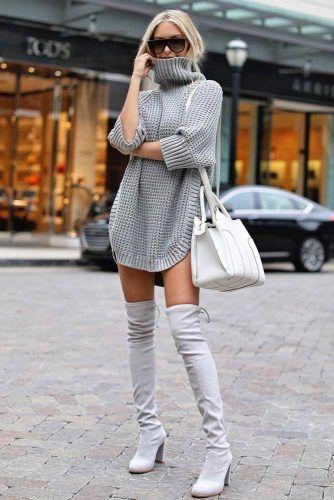 Monochromatic Outfit Idea #overkneeboots #graysweaterdress