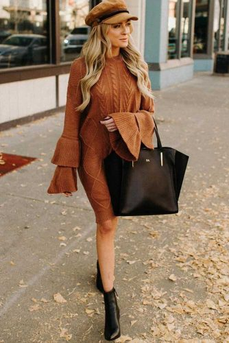 A Sweater Dress With Exciting Ruffles On The Sleeves #ruffles #longsleeves