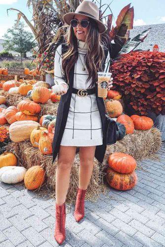 A Plaid Turtleneck Sweater Dress To Warm You Up #plaiddress #patternedsweaterdress