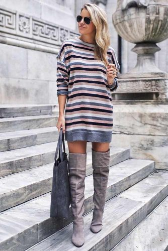 A Striped Sweater Dress Outfit #stripeddress #overkneeboots