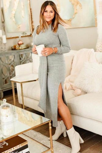 Gray Midi Dress With Cuts #cuts #mididress