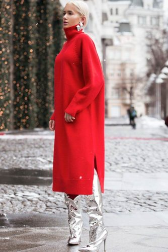 A Trendy Red Midi Sweater Dress #reddress #midisweaterdress