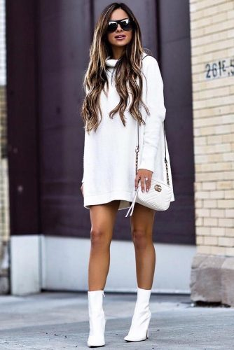 The Trendiest Monochromatic White Look With A Sweater Dress #white #shortboots