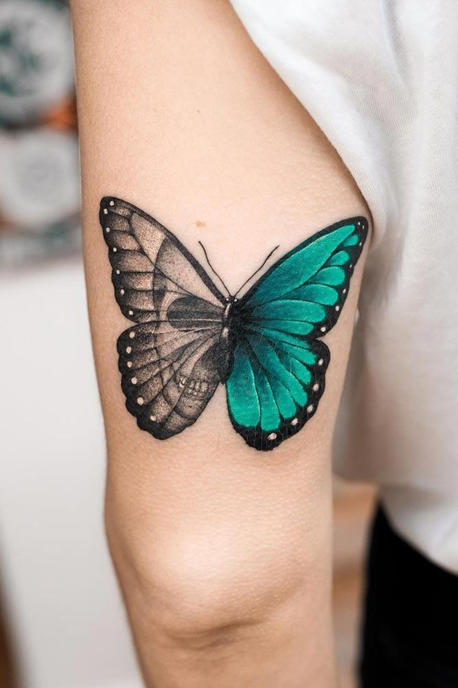 Half Colored Butterfly Tattoo With Skull
