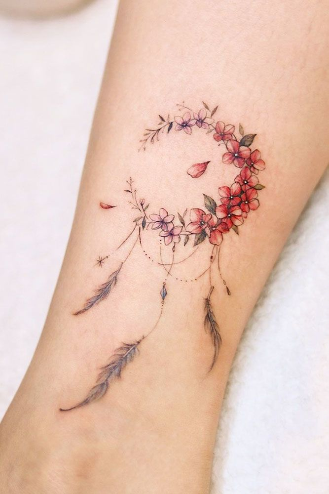 Floral Dream Catcher Tattoo Design #floraldreamcatcher