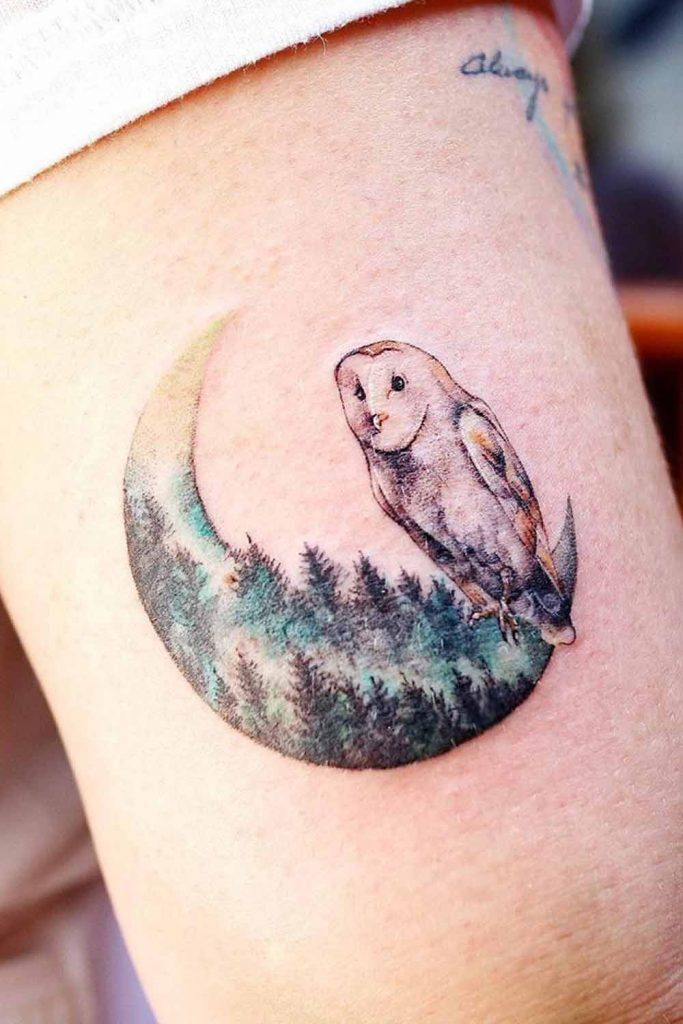 Forest Owl Tattoo With Moon