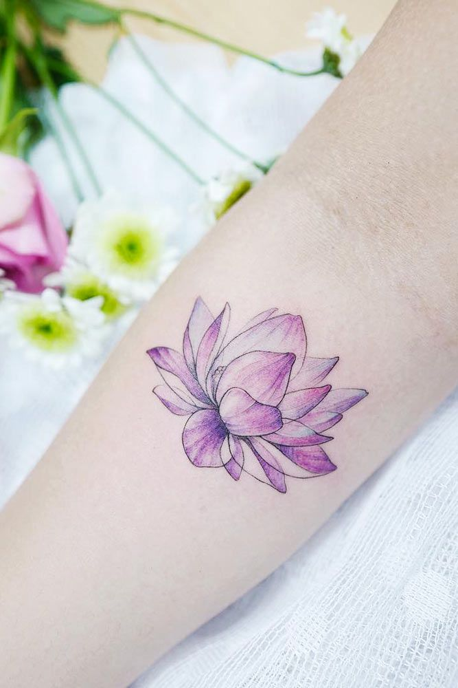 Forearm Watercolor Lotus Flower Tattoo #lotusflowertattoo #purplelotus #watercolortattoo