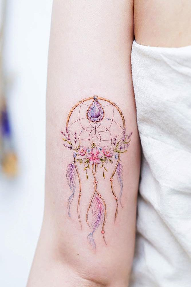 Watercolor Dream Catcher Tattoo #dreamcatchertattoo #dreamcatcher #watercolortattoo