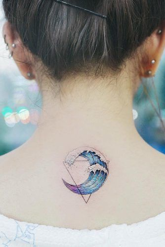 Watercolor Tattoo With Geometric Elements #geometrictattoo