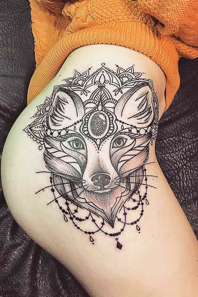 Mandala Fox Tattoo On Thigh #foxtattoo #animaltattoo #thightattoo
