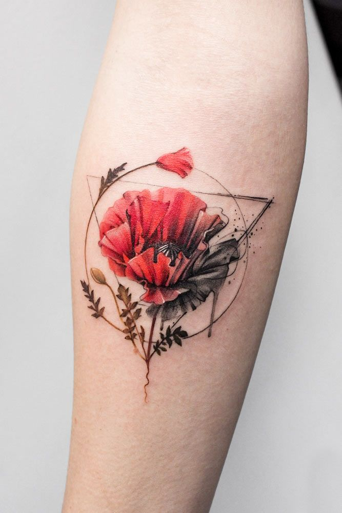 Poppy Flower Watercolor Tattoo With Geometric Elements #poppyflowertattoo #poppyflower