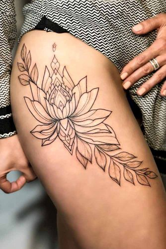 Outline Tattoo Style #outlinetattoo #linework #lotusflowertattoo