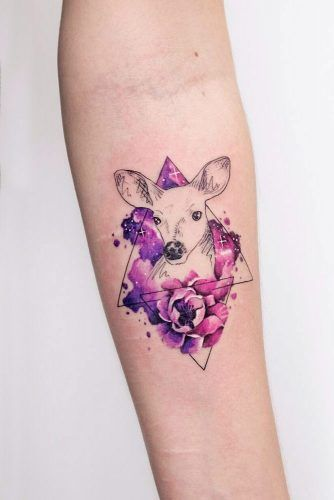 Forearm Galaxy And Geometric Deer Tattoo #deertattoo #galaxytattoo #watercolortattoo