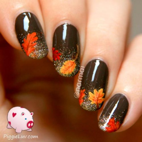 Sparkly Glitter Ombre With Leaves #glitternails #fallnails