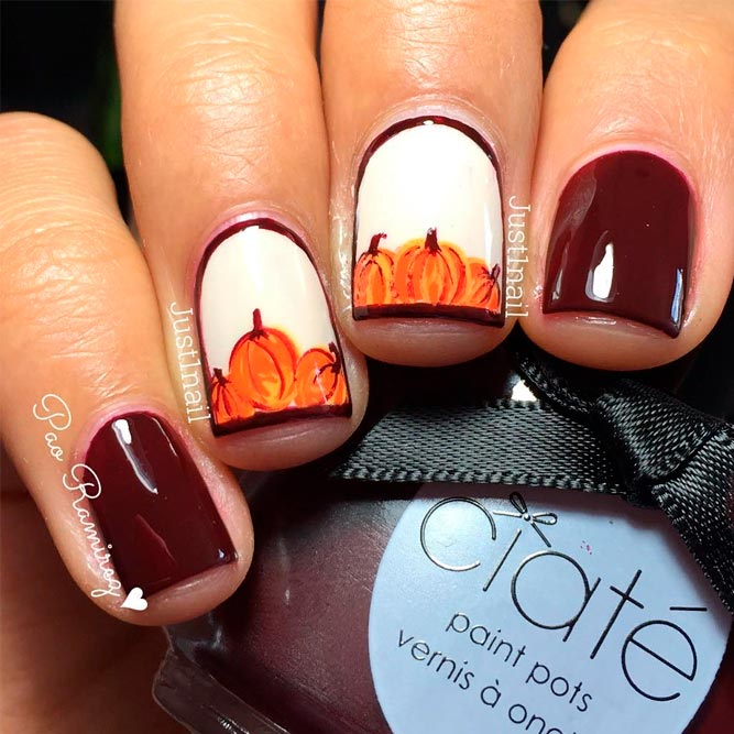 Frame Nail With Pumpkins #fallnails #handpaintednails