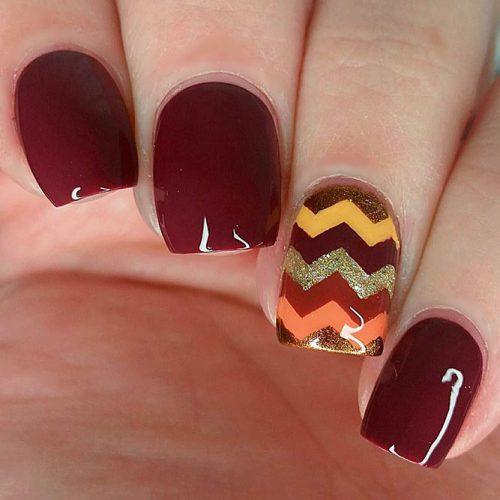 Fall Chevron Nail Art #fallnails #glitternails