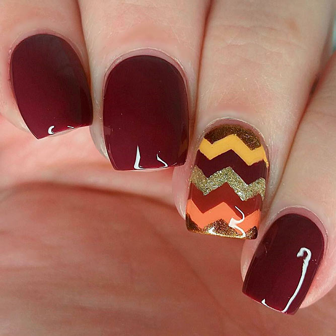 Fall Chevron Nail Art #fallnails #glitternails