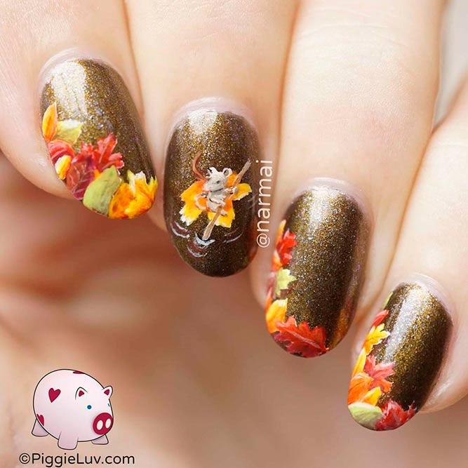 Cute Mouse Nail Art #sparklynails #fallnails