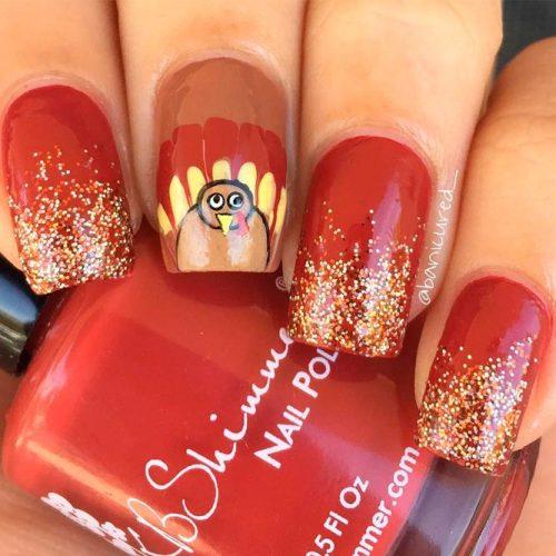 Thanksgiving Turkey With Glitter #glitternails #fallnails #handpaintednails