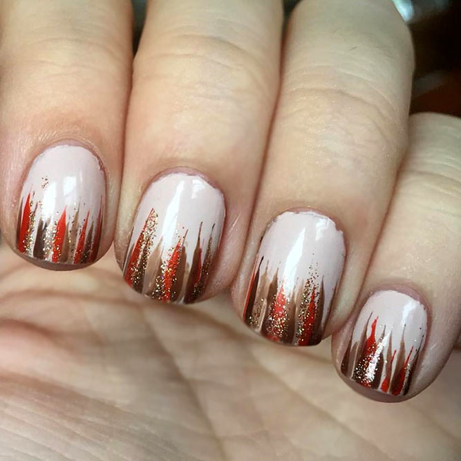 Turkey Feathers Nail Art #fallnails #shortnails #easynailart