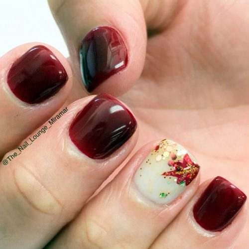 Sparkly Leaf On Accented Finger #fallnails #glitternails