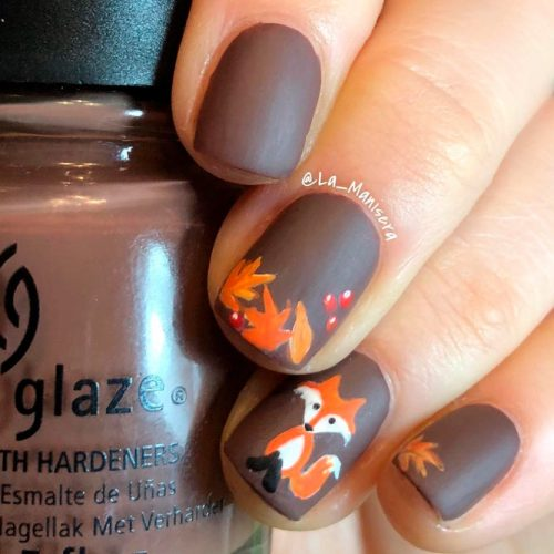 Fall Fox Nails #mattenails #handpaintednails #fallnails