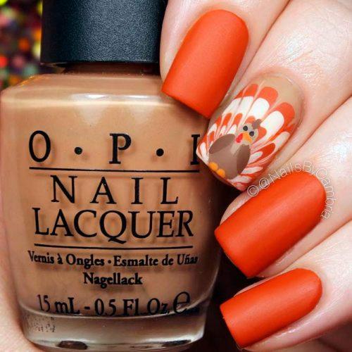 Traditional Turkey Nail Design #mattenails #handpaintednails #fallnails