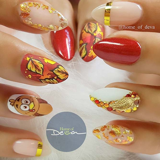 Cartoon Turkey For More Fun #brightnails #fallnails #rhinestonesnails