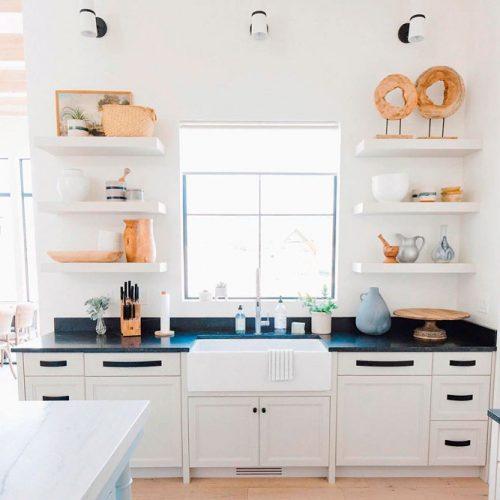 White Kitchen With A Black Countertop #homedecor #stylishhome #modernkitchen