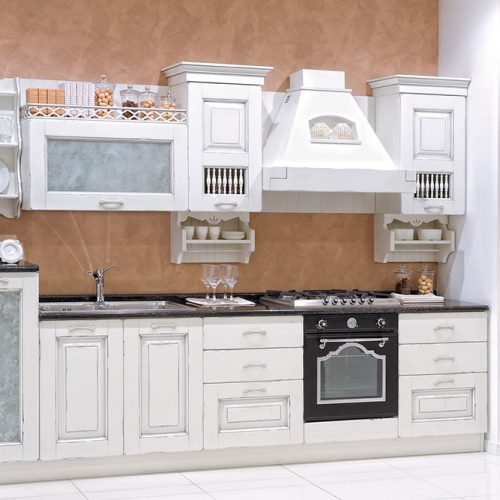 White Kitchen Cabinets With A Decorative Frame #homedecor #stylishhome #classickitchen