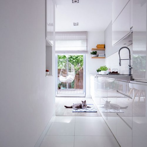 Hallway Lined Kitchen #homedecor #stylishhome #contemporarykitchen