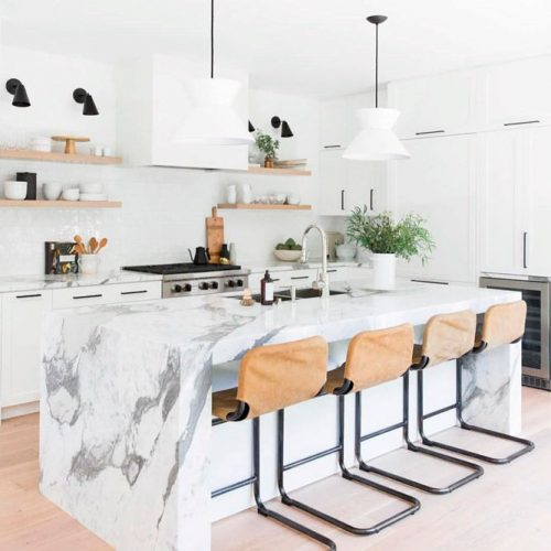 White Kitchen With A Granite Countertop #homedecor #stylishhome #contemporarykitchen
