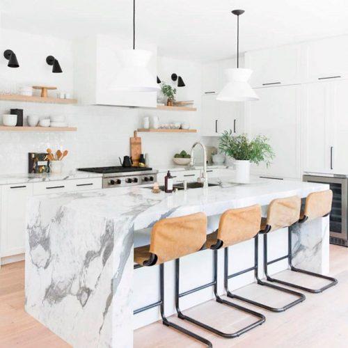 White Kitchen With A Granite Countertop #homedecor #stylishhome #contemporarykitchen