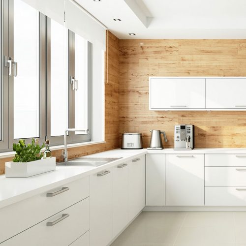 White Kitchen With Wood Backsplash #homedecor #stylishhome #modernkitchen