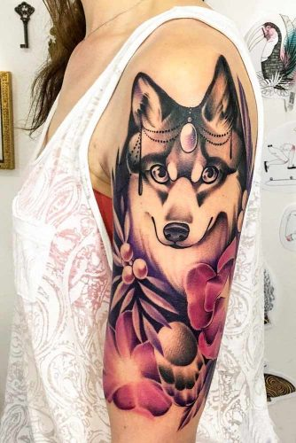 Wolf Tattoo With Flowers #flowerstattoo