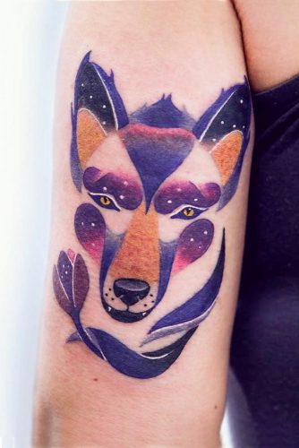 Abstract Wolf Tattoo With Galaxy Colors #galaxytattoo