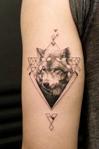 Geometric Wolf Tattoo Design #geometrictattoo