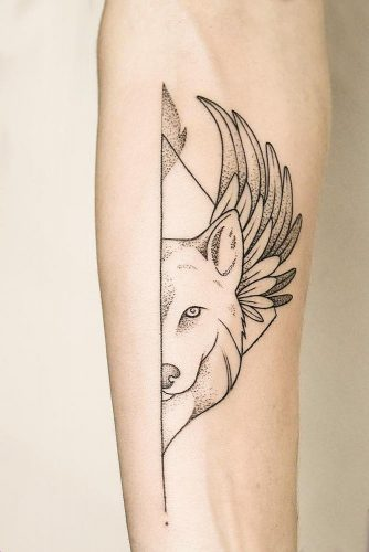 Outline Wolf Tattoo #outlinetattoo #linework