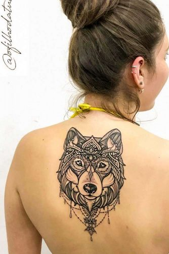 Mandala Wolf Tattoo Design #mandalatattoo #backtattooo