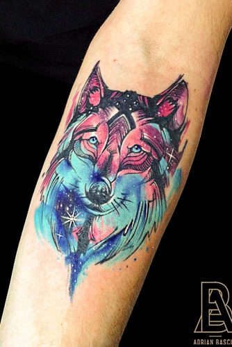 Watercolor Wolf Tattoo Design #watercolortattoo