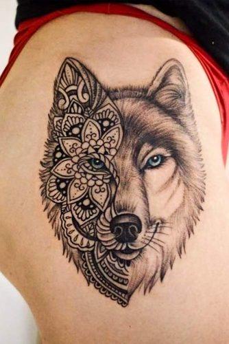 Half Mandala Wolf Tattoo For Thigh #mandalatattoo
