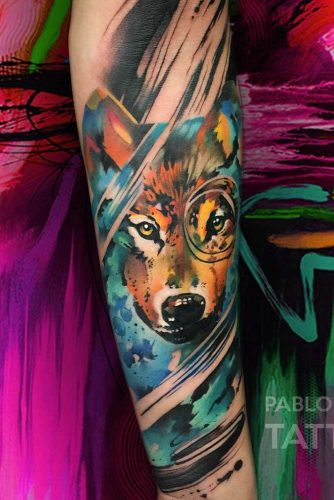 Colorful Wolf Arm Tattoo Design #armtattoo