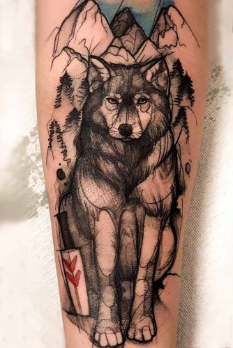 Princess Mononoke Tattoo With Wolf For Anime Lovers #animetattoo #mononoke #princessmononoke